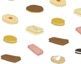 Sweet Biscuits Fabric - Biscui Biscuit Pattern By Emmamethod - Dessert Biscuit Kitchen Decor Cotton Fabric By The Yard With Spoonflower