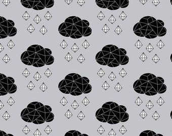 It's Rainging Gems Fabric - It's Raining Gems - Black And White On Mist By Sierra Gallagher - Cotton Fabric By The Yard With Spoonflower