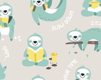 Sloth Fabric - Lazy Sloth - Grey Mint By Ewa Brzozowska - Sloth Cotton Fabric By The Yard With Spoonflower