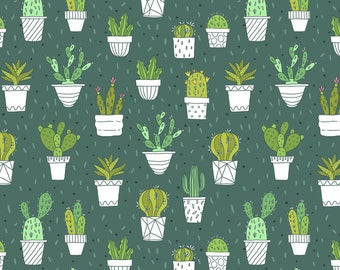 Cacti Pots Fabric - Cactus By Kostolom3000 - Succulent Southwest Desert Potted Plant Green Cotton Fabric By The Yard With Spoonflower