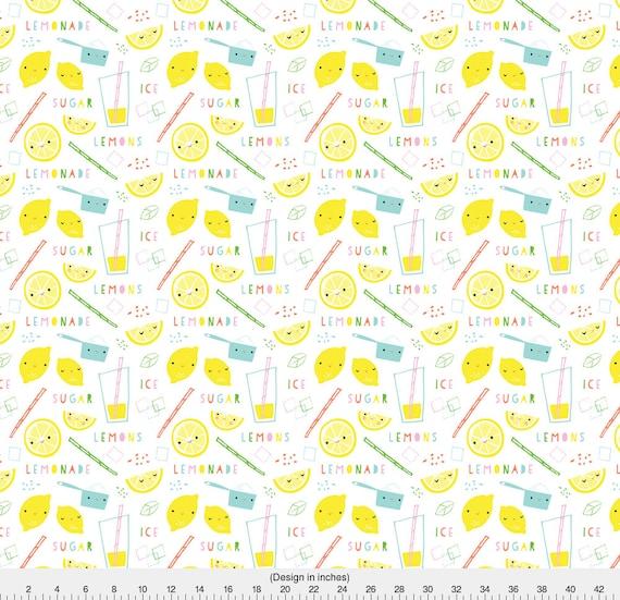Lemonade fabric lemonade time by shindigdesignstudio for Retro nursery fabric