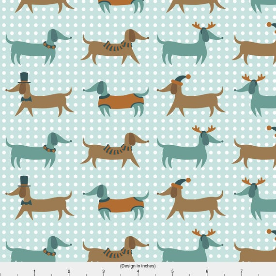Wiener Dog Fabric Jingle Paws In Blue By Pinkowlet
