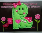 Felt Hair Clips - Felt Dinosaur Hair Clippie - Lime Green And Hot Pink Embroidered Dino Boutique Clip For Girls - Zoo Animal