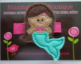 Felt Hair Clips - Girls Hair Accessories - Pink And Mint Green Felt Mermaid With Brown Hair And Skin Embroidered Hair Clippie - Summer Beach