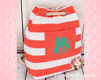 Monogrammed Coral Nautical Striped Rope Drawstring Backpack , personalized coral beach bag , bridesmaid beach bags , beach backpack