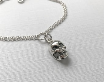 Sterling Silver Skull Bracelet  - Adjustable Bracelet