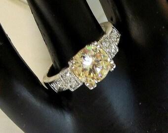 Citrine & Clear Rhinestone Engagement Ring Vintage Size 8
