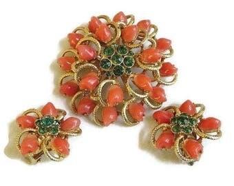 Flower Brooch or Pendant & Earrings Set Orange Baby Tooth and Green Rhinestones Layered Vintage