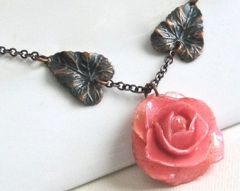 Real Rose Necklace -  Pink Rose,  Flower Jewelry, Natural Preserved, Nature Jewelry, Teal Copper