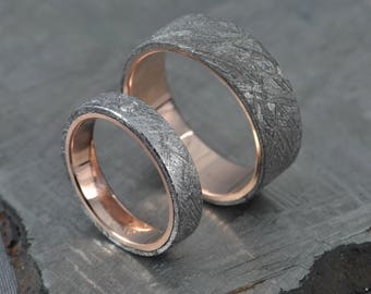 Meteorite Pair! Rose gold wedding ring set, engagement ring, gibeon meteorite, diamond,