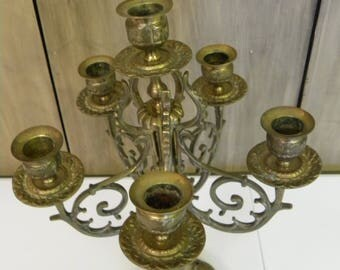 Vintage Brass Six Lite Candelabra Hollywood Regency
