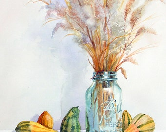 Ball Jar with Weeds and Gourds