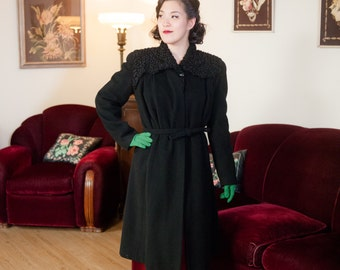 Vintage 1930s Coat -  Ideal Cozy Black Wool Late 30s - Early 40s Tailored Princess Coat with Persian Lamb Fur Shoulders