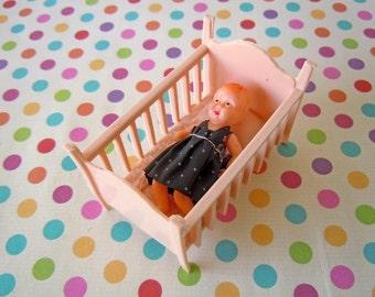 Vintage Mini Toy Pink Baby Bed Crib Mid Century Plastic Nursery Room Dollhouse Miniature