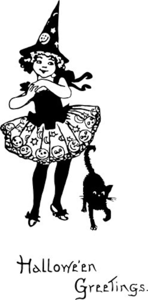 "witch girl black cat printable art halloween black line clipart png image Digital graphics Image Download printables 6.6"" x 13.4"""