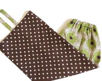 Plastic bag holder brown green pink dots RTS, grocery bag storage, dispenser kitchen, eco friendly reuse, camper VR decor, cotton home gift