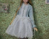 Jiajia Doll limited - one piece - Blue and white laced plume feel dress for momoko Misaki Dorandoran obitsu fashion royalty ruruko