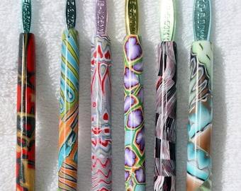 Polymer clay crochet hook set of 6, New Boye hook set, Sizes E/4 through J/10, handmade designs, ready to ship