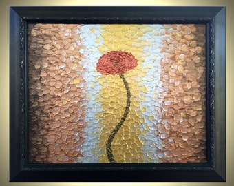 """Red Metallic ROSES Poppies Impasto Flowers Painting, Abstract Flowers Textured Art By Lafferty - Golden Rains - 16""""x20"""" Framed"""