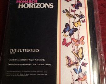 Vintage--1987--Monarch Horizons--The Butterflies--Cross Stitch Kit--CS39--Sealed--Unused