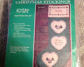 """1980's--Jumbo Quilted--Christmas Stocking--KIT--Counted Cross Stitch--Approx 25""""--Hobby Kraft Kit 5017--Unused--Sealed"""