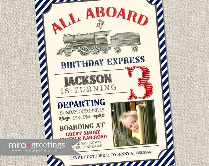 Vintage Train Birthday Party Invitation - Printable Digital File