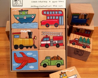 6 hand painted blocks in a gift box. Vehicles. For all ages.