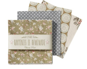 Tilda Fabric, Tilda Happiness is Homemade Charm Pack, Tilda Patchwork Bundle 480740, 42 Pieces of Fabric, 12.5 cm x 12.5 cm