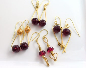 Glorious Red and Gold Dangle Earrings Sample Sale, Golden Brass and Red Czech Glass, Original Statement Earrings, Affordable Fashion Gifts