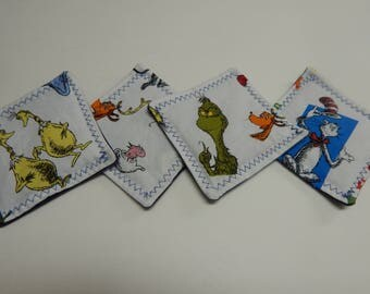 Set of 4 Fabric Drink Coasters Dr Suess