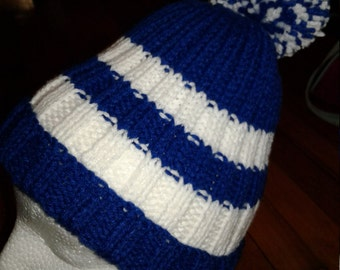 Hand Knitted Royal Blue and White color Hat with pompom, fits age 6 to Adult