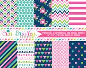 Digital Scrapbooking Paper Cheery Day Digital Paper Pack Polka Dots Flowers Doodle Chevron Patterns