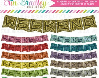 50% OFF SALE Glitter Weekend Banner Clipart Graphics Commercial Use Clip Art Bunting Flags