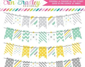 50% OFF SALE Yellow Aqua & Gray Bunting Banner Flag Clipart Digital Clip Art Graphics Personal and Commercial Use Instant Download