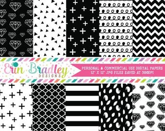 50% OFF SALE Digital Papers, Black & White Digital Paper Pack, Diamonds Triangle Striped Doodle and Cross Patterns, Digital Scrapbooking Pap