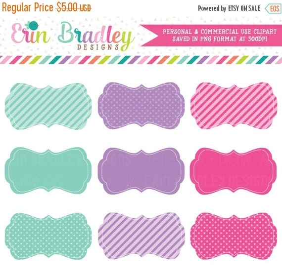 70% OFF SALE Digital Scrapbooking Clipart Clip Art Pink Blue and Purple Journal Tags Personal & Commercial Use