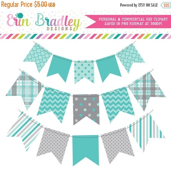 60% OFF SALE Blue & Gray Bunting Clip Art Instant Download Commercial Use Digital Banners Clipart Graphics