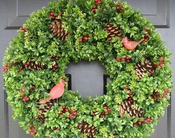 Christmas Wreath Sale Red Cardinals Boxwood By Elegantwreath