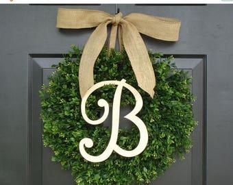 SUMMER WREATH SALE Monogram Boxwood Wreath, Fall Monogram Wreath with Burlap Bow, Housewarming Gift, Wedding Wreath 16- 22 Inch Available