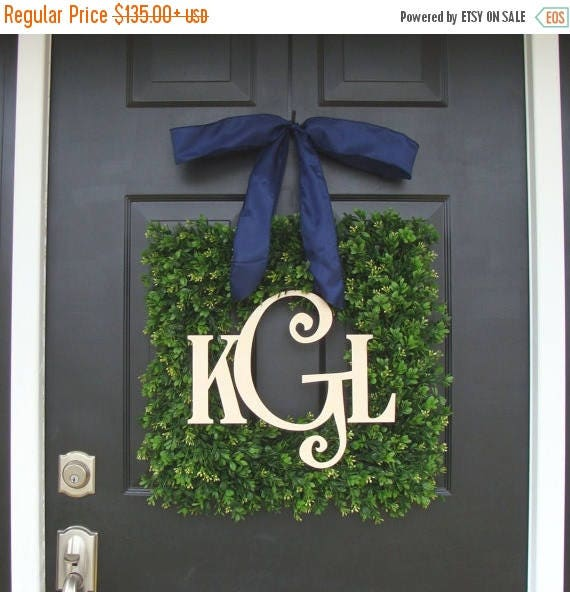 SPRING WREATH SALE Boxwood Wood Monogram Christmas Wreath- Holiday Wreaths- Monogram Wreath- Holiday Decor- Christmas Decor- Christmas Decor