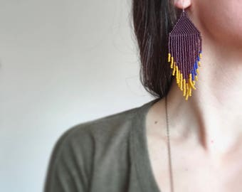 Original Handmadewarrior Bead Earrings Pointed Fringe Purple