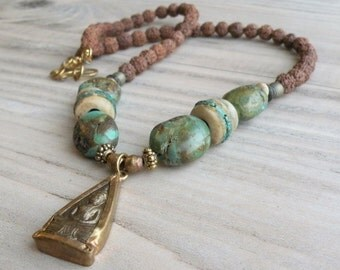 Buddha Necklace, Turquoise Necklace, Prayer Beads, Spiritual Jewelry, Amulet, Tibetan Necklace