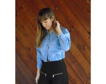 extra 30% off sale . . . Denim Tiny Fit Button Down Shirt - Vintage 90s - XS/S
