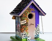 Reserved for Pinkflamingocrafts , a Lavender Birdhouse , Handcrafted , Hand Painted with all Kinds of Extras