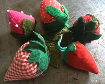 Vintage Strawberries One Dozen Velvet Gingham Calico and More Jam Band Assortment