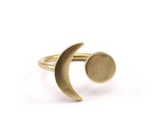 Universe Cosmos Ring - 5 Raw Brass Moon And Planet Rings N084