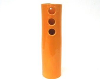 mid century modern hand built porcelain vase  ...  bold orange vessel