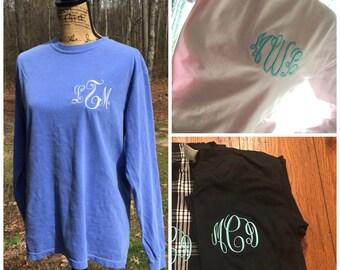 Comfort Color Monogrammed T-shirt.  LONG SLEEVE Monogram shirt. S, M, L, XL, 2X. Personalized Comfort Color shirt. Product CC6014