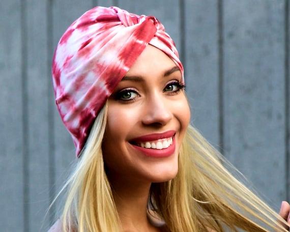 Tie Dye Shibori Print Pink Turban Hair Snood Doo Rag Chemo Cap Hair Covering Full Turban Retro Accessory Stretch Turban Tichel Head Covering