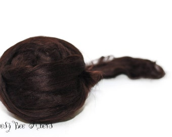 ESPRESSO - Bamboo Viscose Roving Combed Top for Felting or Spinning Cellulose Vegan Fiber 4 oz